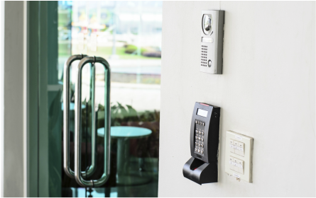 glass doors with keyless entry access control system for office building